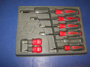 Snap On Tools 7pc Instinct Red Hard Grip Combination Screwdriver Set Nice