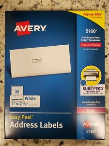 Avery 5160 Address Labels 1 X 2 5 8 900 Total 30 Sheets Blank White