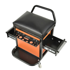 Mechanics Rolling Seat Creeper Garage Stool Shop Car Work Tool Box Chest Storage