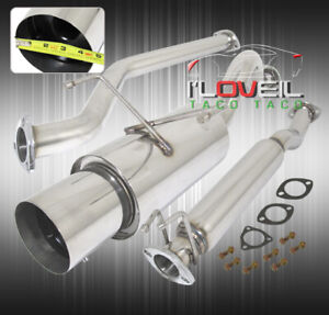 60mm Racing T304 Stainless Steel Catback Exhaust 4 5 Tip For 02 06 Acura Rsx