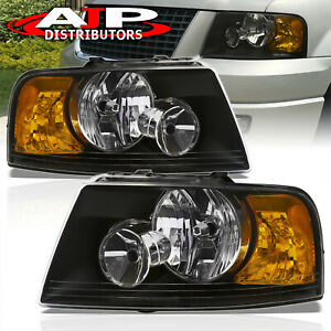 Black Amber Corner Replacement Headlights Lamps Lh Rh For 03 06 Ford Expedition