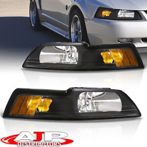 Black Amber Replacement Head Lights Lamps Lh Rh Set For 1999 2004 Ford Mustang