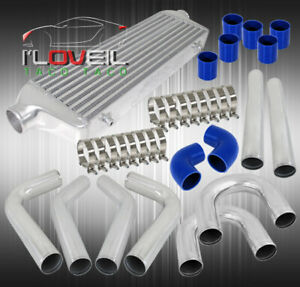 Universal Straight U Pipe Piping Kit Blue Silicone Couplers Fmic Intercooler