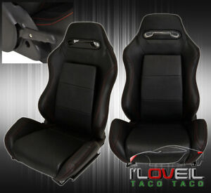 Lh Rh Reclinable Bucket Seats Chairs Jdm Racing Sport Track Slider Black Set