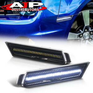 Smoke White Led Front Fender Side Markers Lights Set For 2010 2015 Chevy Camaro