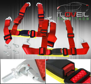 For Chevy 2 4pt Shoulder Strap Seat Belt Quick Release Harnesses Pair Track Red