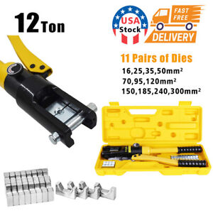 Hydraulic Wire Crimper Crimping Tool Battery Cable Lug Terminal 11 Dies 12 Ton