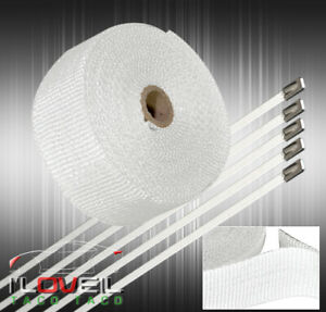 10m Exhaust Header Manifold Engine High Temp Heat Fiberglass Heat Wrap Kit White