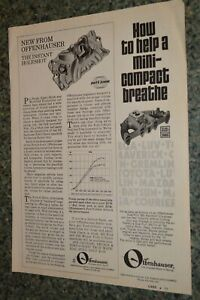 1973 Offenhauser Port O Sonic Intake Manifold Original Advertisement Ad 73