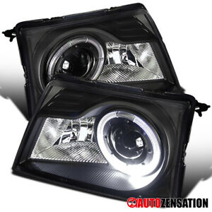 For 1998 2000 Ford Ranger Black Led Halo Rim Projector Headlights Lamps 1999