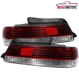 For 1997 2001 Honda Prelude Red clear Tail Lights Brake Reverse Rear Lamps Pair