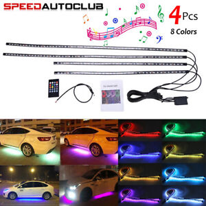 8 Color Rgb Led Strip Under Car Truck Tube Underglow Underbody System Neon Light