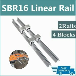 2x Sbr16 300mm 2000mm Linear Silde Rail Guide Shaft 4x Sbr16uu Bearing Block Set