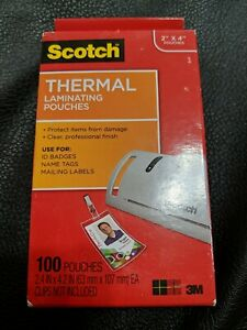 Scotch Thermal Laminating Pouches 100pouches Clips Not Included 2 x4