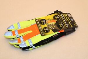 Pugs Heavy Duty Work Gloves Safety Reflective Hi vis Hi Viz Size Large Nwt New