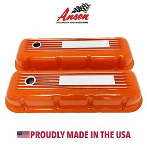 Big Block Chevy Valve Covers Finned Orange Engravable Plate Ansen Usa