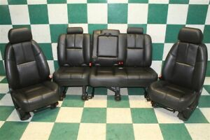 07 08 Avalanche Black Leather Power An3 Front Bucket Backseat Bench Seat Set Oem