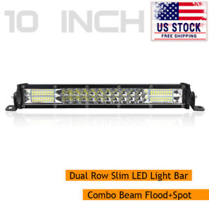 10inch Slim Led Light Bar Spot Flood Combo Work Lamp Dual Row Offroad Driving Us