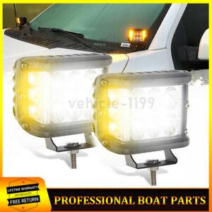 4 Inch Work Cube Side Strobe Led Light Pod White Amber Shooter Fog Lamp