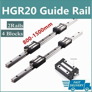 2pcs Linear Rail Guide Hgr20 800mm 1500mm 4pcs Hgh20ca Bearing Block Set Cnc Us