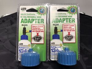 2 Auto Air Conditioning R 134a Recharge Hose Adapter Brand New Lot Of 2