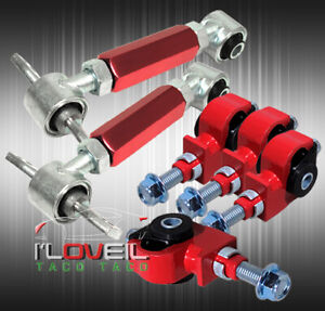 For 88 95 Honda Civic Adjustable 6pc Front Rear Adjustable Camber Kit Red