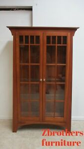Ethan Allen Cherry New Impressions Mission Display Cabinet Hutch