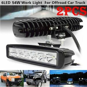 2x Led 54w Work Light Bar Spot Flood Beam Driving Lamp Offroad Car Truck 4wd Suv