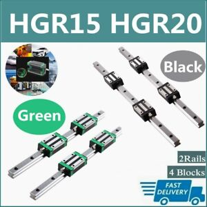 Hgr15 Hgr20 2x Linear Rail Guide 4x Hgh15ca Hgh20ca Block Hgh15 Hgh20 200 2000mm