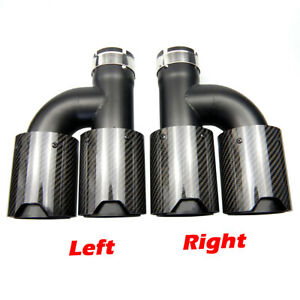 H Style Dual Carbon Fiber Black Stainless Steel Exhaust Tips Muffler Tips Pipes
