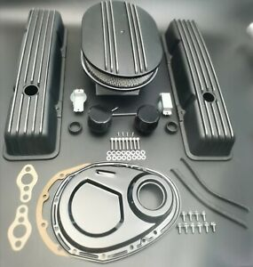 58 86 Sbc Aluminum Tall Black Finned Valve Covers 12 Air Cleaner timing Cover