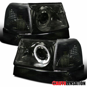 For 1998 2000 Ford Ranger Smoke Halo Rims Projector Headlights corner Lamp Pair
