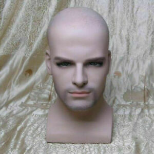 Realistic Fiberglass Male Mannequin Head With Beard For Hat Wig Glasses Display