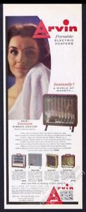 1959 Arvin Portable Electric Heater 5 Models Color Photo Vintage Print Ad
