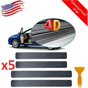 Carbon Fiber Car Door Plate Sill Scuff Cover Anti Scratch Sticker Accessories 4x