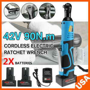 3 8 42v Electric Cordless Ratchet Right Angle Led Wrench Impact 2 Battery New
