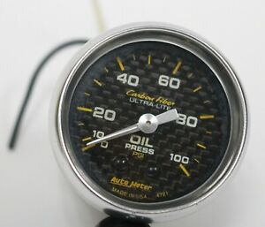 Auto Meter 2 1 16 0 100 Psi Mechanical Oil Pressure Gauge Used