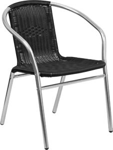 Flash Furniture Aluminum And Black Rattan Commercial Restaurant Stack Chair