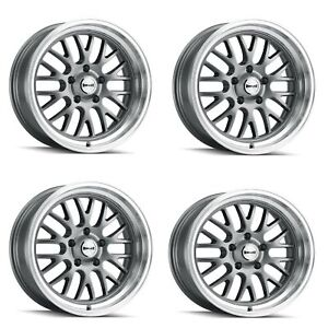 Set 4 18 Ridler 607 Grey W Machined Lip 18x8 5x5 5x127 Wheels 0mm Rims