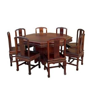 Chinese Rosewood Octagonal Pedestal Dining Table Set 8 Chairs Cs6031