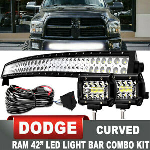 For Dodge Ram 1500 2500 3500 Bumper 40 Led Light Bar Combo 4 Pods Lights Kit