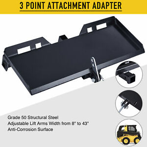Hd 47 Steel 3 point Attachment Adapter For Kubota Bobcat Skidsteer Tractor