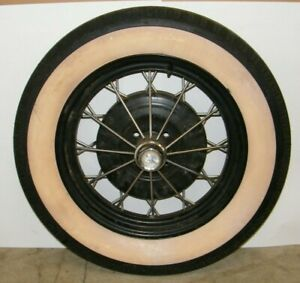 Vintage Ford 18 Wire Spoke Wheel With Tire 4 Lug