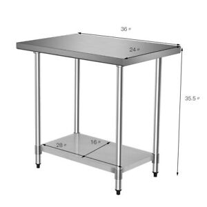 Stainless Steel Food Prep Table 24 X 36 Inch Commercial Restaurant Home Kitchen