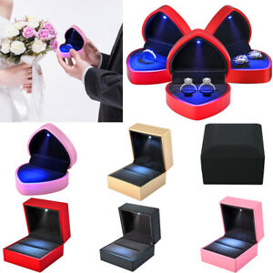 Luxury Jewelry Necklace Earring Ring Box Case Holder Gift With Led Light Wedding