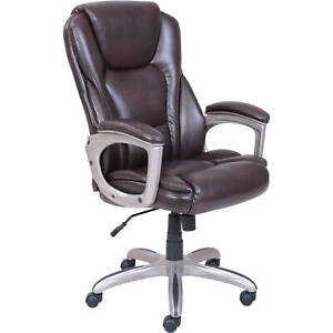 Serta Big And Tall Leather Commercial Office Chair With Memory Foam Brown