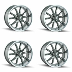 Set 4 17 Ridler 650 Grey Polished Lip 17x8 5x4 75 5x120 65 Wheels 0mm Rims