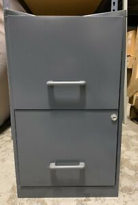 Gray Metal Two Drawer Filing Cabinet With Lock