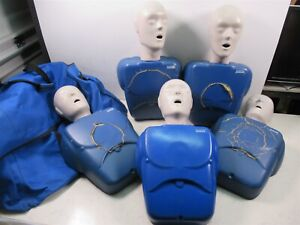 Lot Of 5 Cpr Prompt Medical Nursing Manikin Trainers Adult Size W Carrying Bag
