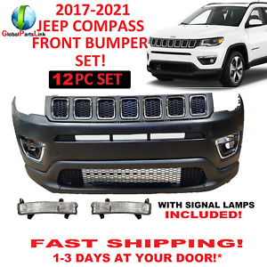 2017 2018 2019 2020 2021 Fit Jeep Compass Front Bumper Set Upper Lower Grill Fog